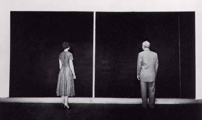 Barnett Newman and unidentified woman with Cathedra photo by.fw