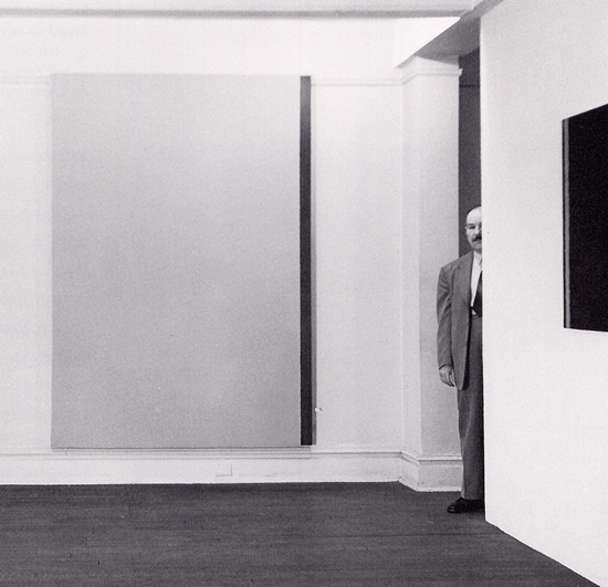 Barnett Newman at Betty Parsons gallery photo by Hans Namuth.fw