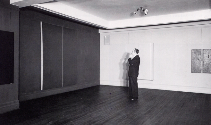 Barnett Newman at the Betty Parsons Gallery looking at Be 1,.fw