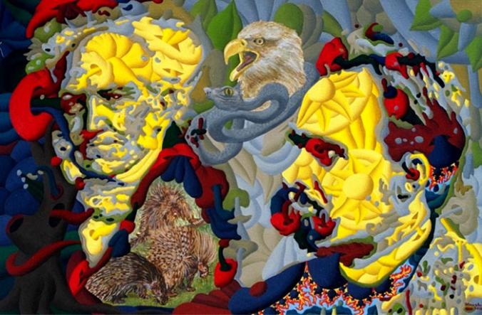 Friedrich Nietzsche and Arthur Schopenhauer by Werner Horvath, 2000.fw